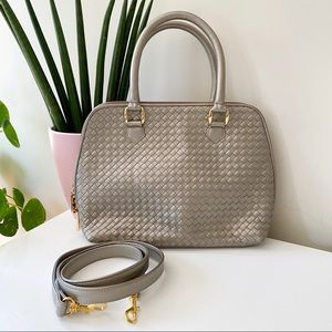 Vintage ganson champagne leather woven satchel